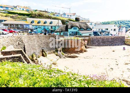 Hope Cove Village Devon UK, Hope cove, Devon, uK, England, village, villages, pub, beach, harbour wall, Hope cove beach, beach, beaches, - Stock Image