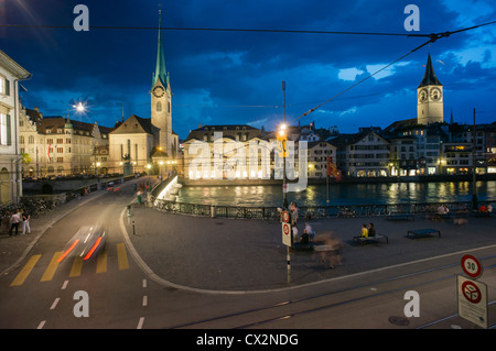 Promenade, Limmat, Fraumunster, St. Peters Church , Zuerich, - Stock Image