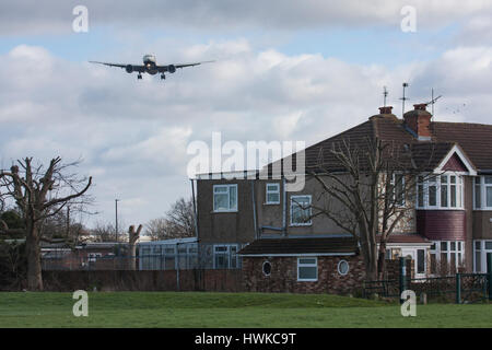 British Airways plane approaching London Heathrow Airport, UK - Stock Image
