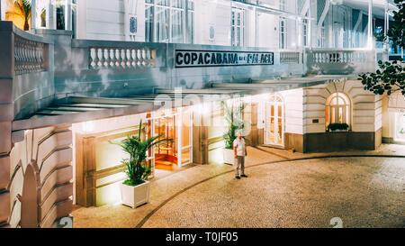 Rio de Janeiro, Brazil, March 18, 2019: Concierge at main extrance to the luxurious Copacabana Palace Belmond in Copacabana, Rio de Janeiro, Brazil - Stock Image