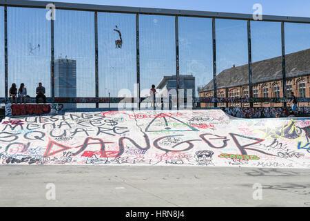 Public skatepark in Brussels, Belgium. - Stock Image