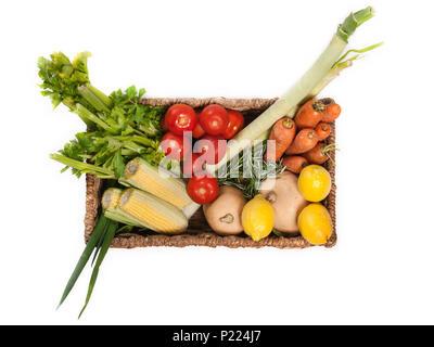 Basket of fresh vegetables. - Stock Image