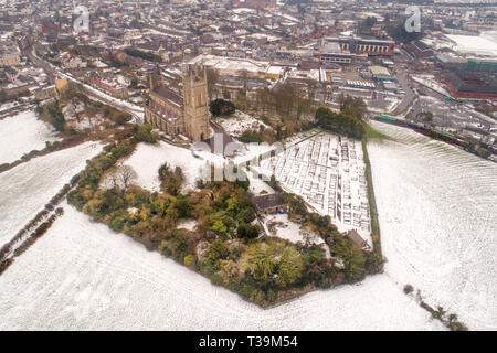 The Church of Ireland's Down Cathedra in winter, under snow. - Stock Image