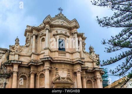 Church of San Domenico in Noto city, Sicily in Italy - Stock Image