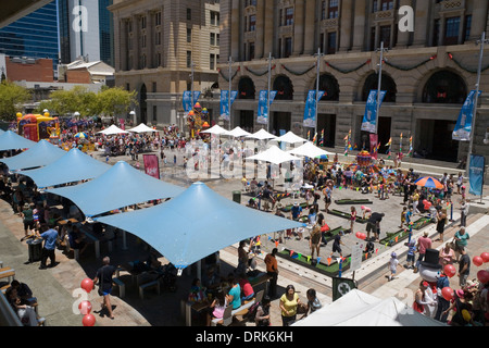 Family fun day around Christmas time in Forrest Place, city centre of Perth, Western Australia. - Stock Image