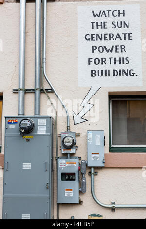 USA, Arizona, Bisbee. Sign touting solar power. Credit as: Wendy Kaveney / Jaynes Gallery / DanitaDelimont.com - Stock Image