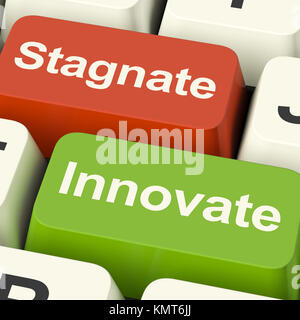 Stagnate Innovate Computer Keys Shows Choice Of Growth And Advancement Or Stagnation - Stock Image