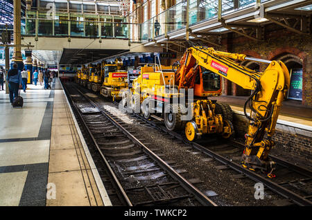 Railway Maintenance - Railway Track Maintenance equipment waiting at Liverpool Street Station in London - Stock Image