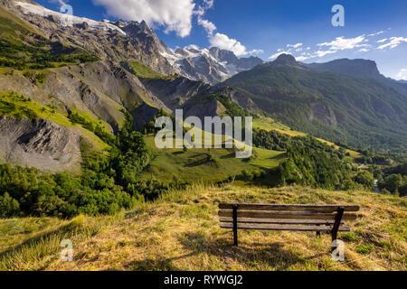 Summer sunset on the La Meije glacier in the Ecrins National Park. La Grave, European Alps, France - Stock Image