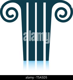 Antique column  icon. Shadow reflection design. Vector illustration. - Stock Image