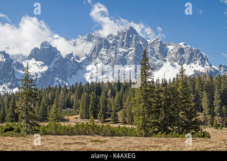 Bog Before The Mountain Of The Sesto Croda Rossa In The Dolomites - Stock Image