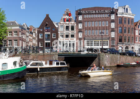 Traditional Dutch buildings on the Prinsengracht canal in Amsterdam, Netherlandss - Stock Image