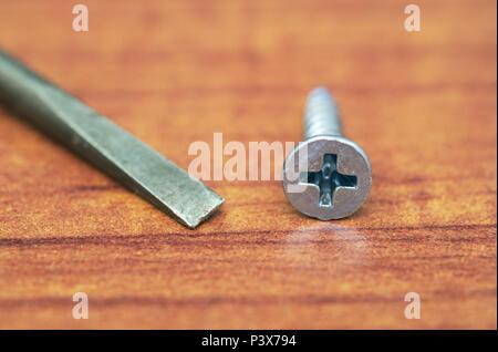 flat head screwdriver near a phillips screw - Stock Image
