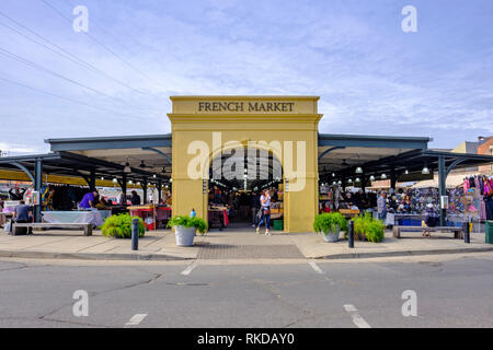 Exterior view of New Orleans French Market, Shops of the Colonnade, farmer's market, New Orleans French Quarter, Louisiana, USA - Stock Image