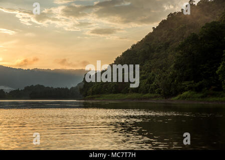 Morning landscape on Wagu Lake, Upper Sepik, Papua New Guinea - Stock Image