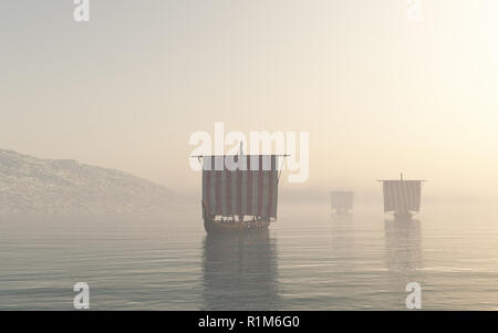 Viking Longships Approaching through the Mist - Stock Image