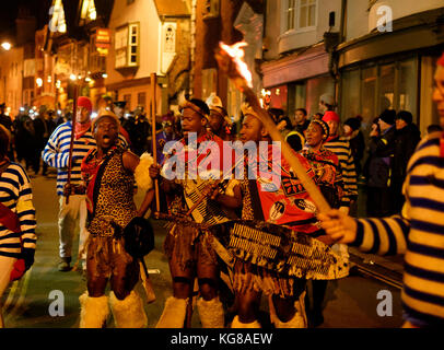 Lewes, UK - 4 November 2017:  Participants from Borough Bonfire Society at the 2017 Lewes Bonfire night, wearing - Stock Image