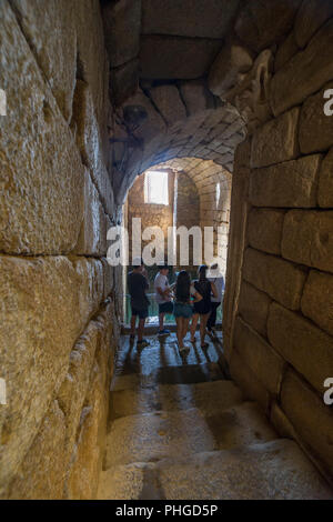 Merida, Spain - August 25th, 2018: Visitors at Roman water cistern, Alcazaba arab citadel. Merida, Extremadura, Spain - Stock Image