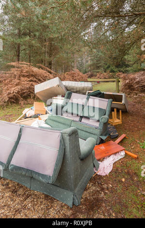 Fly tipping, fly tipped household rubbish, New Forest, Hants - Stock Image