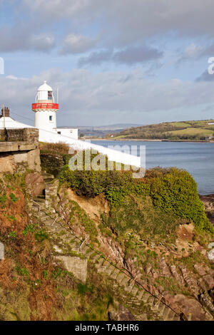 Small lighthouse on an outcrop overlooking River Blackwater in the town of Youghal in County Cork,Ireland. - Stock Image