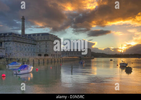 Royal William Yard in Plymouth at sunset - Stock Image