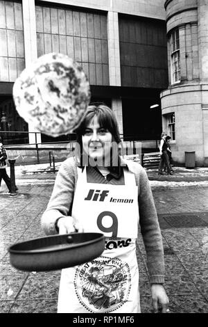 The Shrove Tuesday Jiff Lemon's  Pancake Race in Clayton Street, Newcastle on 21st February 1979 - Stock Image