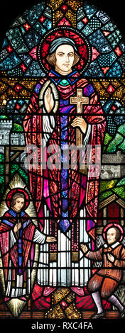 St. Edmund Arrowsmith, a Roman Catholic Martyr who was executed in 1628, St. Oswald & St. Edmund church, Ashton-in-Makerfield, Greater Manchester, UK - Stock Image