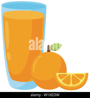 orange juice glass breakfast vitamin natural tropical juicy illustration - Stock Image