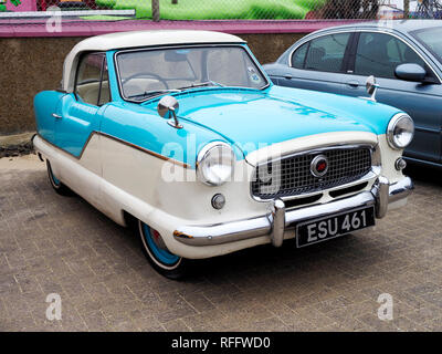 A series 3 Nash Metropolitan, known as Austin Metropolitan in the UK compact car from the late 1950's displayed at a car show in Gt Yarmouth. - Stock Image