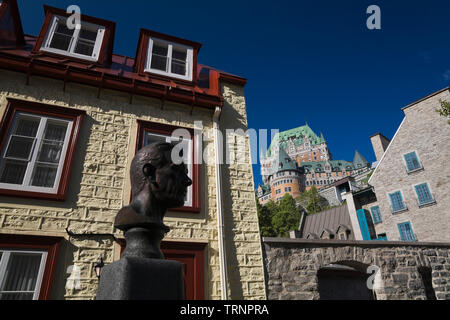 Old architectural buildings and Chateau Frontenac, Old Quebec City, Quebec, Canada - Stock Image