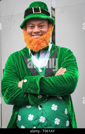 London, UK, 17th Mar 2019. A cheeky leprechaun. London celebrates with a spectacular St Patrick's Day parade, led by this year's Grand Marshal, actor James Nesbitt. Now in its 17th year, the parade attracts more than 50,000 people for a colourful procession of Irish marching bands from the UK, US and Ireland, energetic dance troupes and spectacular pageantry. Credit: Imageplotter/Alamy Live News - Stock Image