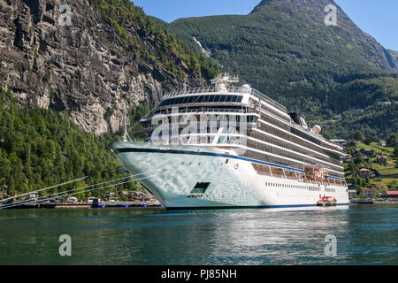 Large cruise ship at Geiranger, Norway. - Stock Image