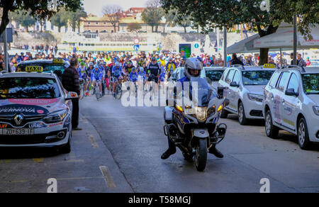 Departure of the annual Easter Monday bicycletour from Zadarto Vir, Zadar Croatia, April 22, 2019 - Stock Image