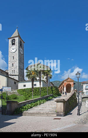Staircase leading to Clock and bell tower of Church of Saints Gervaso and Protaso in Baveno on Lake Maggiore Italy - Stock Image