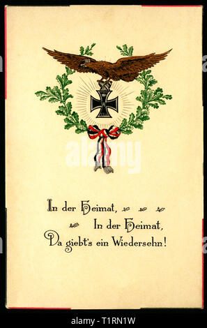Germany, Schleswig-Holstein, Rendsburg, patriotic postcard with the text ' At home - at home - we will see us again ', with Iron Cross and laurel sent 11. 11. 1914., Additional-Rights-Clearance-Info-Not-Available - Stock Image