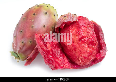 Opuntia fruit or prickly pear fruit on white background. Close-up. - Stock Image