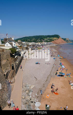 View of Sidmouth beach looking east towards Salcombe Hill, East Devon, UK - Stock Image