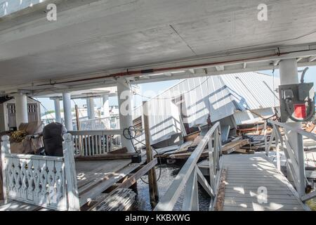 A damaged dock and houseboats in the aftermath of Hurricane Irma November 17, 2017 in Key West, Florida.  (photo - Stock Image