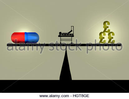Pill and dollar pound signs balancing on seesaw with patient in hospital bed - Stock Image