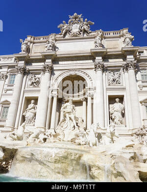An upclose view of the historical Trevi Fountain in Rome Italy. - Stock Image
