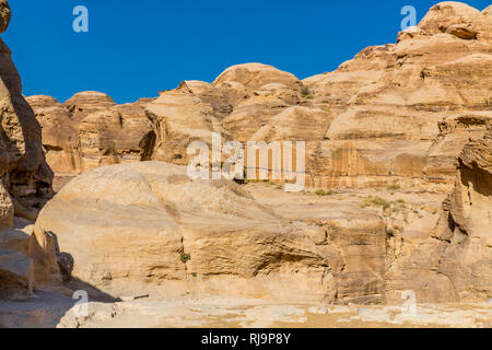 Der Sik, The Siq, Felsschlucht, 1200 m, Petra, Wadi Musa, Nabatäer Hauptstadt, UNESCO Weltkulturerbe, Jordanien, Asien - Stock Image