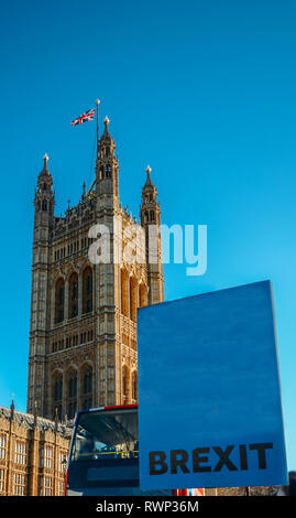 Placard with word Brexit written outside, Westminster, London UK - Stock Image