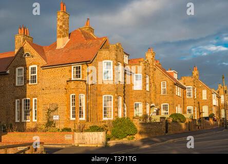Carstone houses, Hunstanton, Norfolk, England, UK - Stock Image