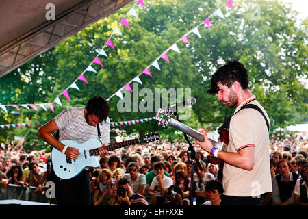 Foals live at Field Day festival in Victoria Park London. - Stock Image