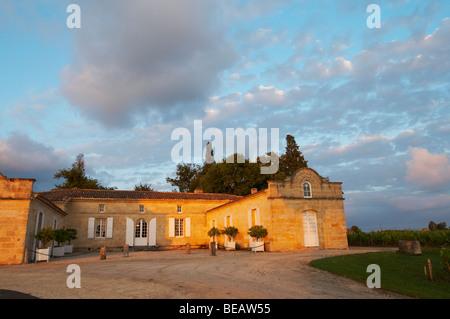 at sunset chateau trottevieille saint emilion bordeaux france - Stock Image