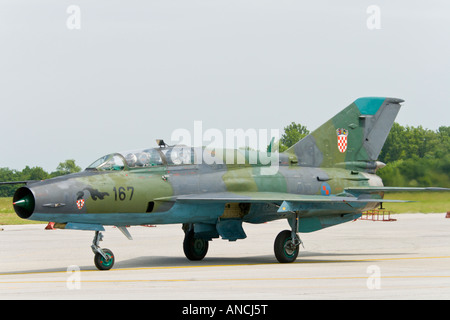 Croatian Air Force MiG-21 BISD fighter taxiing before taking off - Stock Image