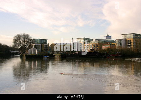 Thames Lock Where the Grand Union Canal Meets the River Thames at Brentford - Stock Image