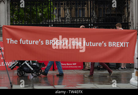 London, UK. 18th June 2019. Large and wide pro-Brexit banner in front of the House of Parliament, London, on Parliament Square. The future is represented by the pram visible under the banner. Credit: Joe Kuis / Alamy - Stock Image