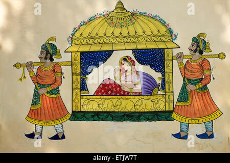 Paintings on a wall in the City Palace, Udaipur, Rajasthan, India - Stock Image