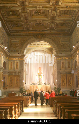 Visitors tour the Spectacular historic Church of St Nicholas in Tolentino ,'le Marche', Italy - Stock Image